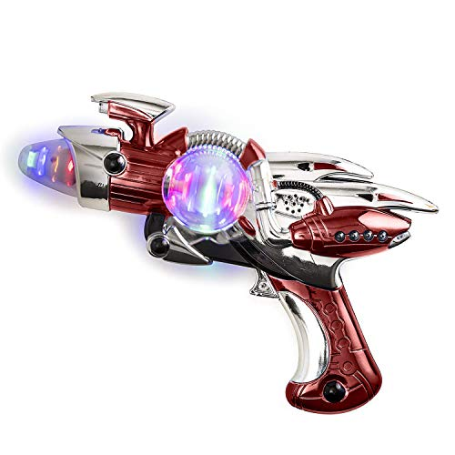 Kicko Light-Up Noise Blaster - Red Color - 11.5 Inches Long with Cool and Fun Super Spinning Space Style – for Novelty and Gag Toys, Party Favor, Bag Stuffer, Party Ideas