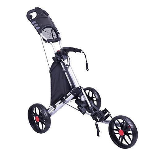 Golf Push/Pull 3 Wheel Push Pull Golf - Twee stappen openen/sluiten - Kleinste opvouwbare lichtgewicht golf met kruk inbegrepen,
