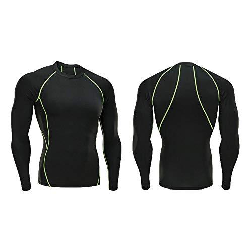 Mountain Warehouse Endurance Mens Top,Vêtements de sport pour hommes, combinaison moulante à séchage rapide, à manches longues et à manches longues, tee-shirt d'entraînement respirant, ligne verte _S