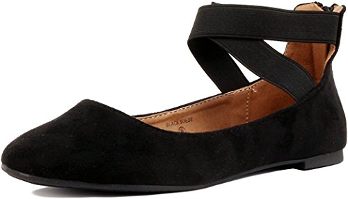 Women's Classic Ballerina Flats with Elastic Crossing Ankle Straps Ballet Flat Yoga Flat Shoes Slip On Loafers Black 10