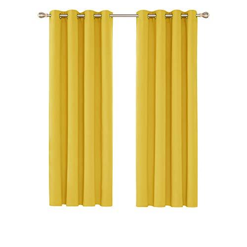 Deconovo Verdunkelungsvorhang Ösen Gardinen Schlafzimmer Vorhang Blickdicht 175x140 cm Senfgelb 2er Set