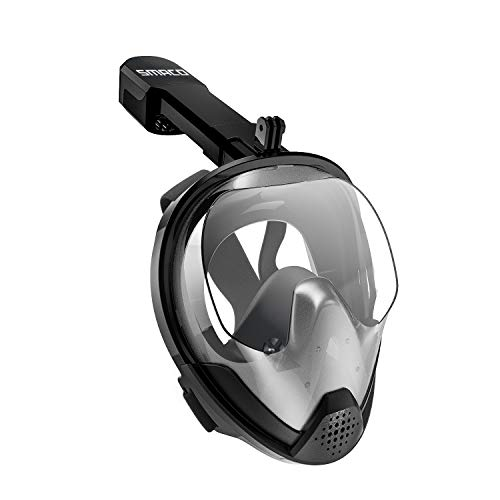 SMACO Full Face Snorkel Mask 180° Panoramic View with Detachable Camera MountDual Channel with AntiFog and AntiLeak Features for Adults and Youth Black L/XL