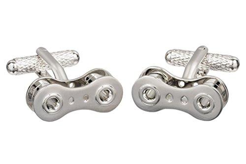 Gemelli a catena di bicicletta, presentati in una scatola di GS Cufflinks (colore argento)