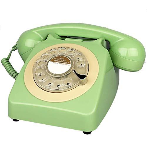 AABBC Teléfono Fijo Teléfono Retro Vintage de los años 80, teléfono Fijo con Cable de Estilo Antiguo, teléfono residencial Creativo de Moda en Colores Dulces, dial Giratorio Funcional y Timbre de
