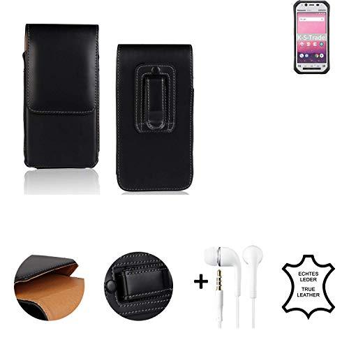 K-S-Trade® Leder Gürtel Tasche + Kopfhörer Für Panasonic Toughbook FZ-N1 Seitentasche Belt Pouch Holster Handy-Hülle Gürteltasche Schutz-Hülle Etui Schwarz 1x