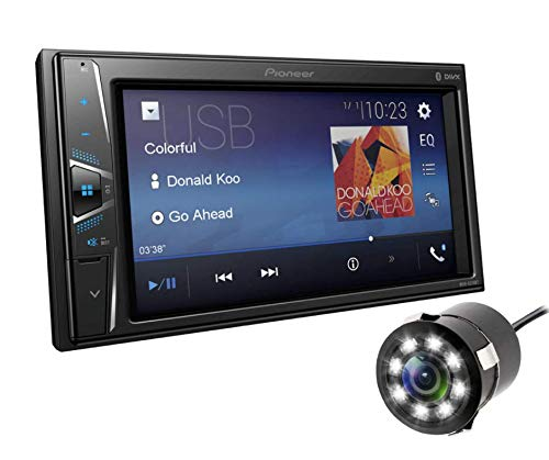 """Pioneer Combo of MVH-G219BT (6.2"""") Touch Screen Media Receiver with Bluetooth and 8 LED Car Reverse Camera"""