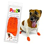 PawZ Dog Boots | Rubber Dog Booties | Waterproof Snow Boots for Dogs | Paw Protection for Dogs | 12 Dog Shoes per Pack (X-Small, Orange)