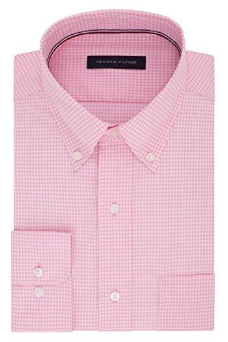 Tommy Hilfiger mens Regular Fit Non Iron Gingham Dress Shirt, Vintage Rose, 16.5 Neck 34 -35 Sleeve Large US