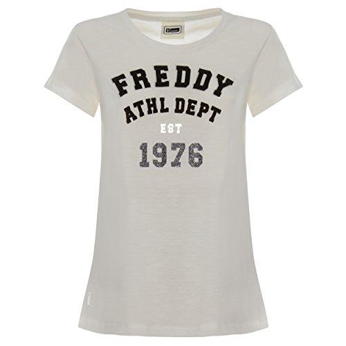 Camiseta con Escote Redondo de 100% algodón Flameado con Estampado Delantero Flocado - Hielo - Extra Large