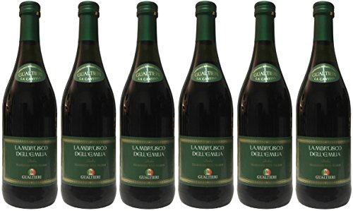 Lambrusco rosso dolce Gualtieri Dell`Emilia IGT mit Schraubverschluss (6 X 0,75 L) - Vino Frizzante - Roter Süßer Perlwein 7,5% Vol. aus Italien