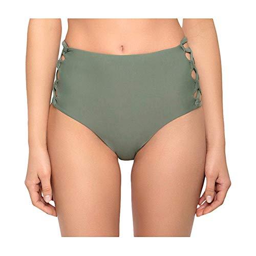 Tori Praver Women's Strappy High Waist Swim Bottom (X-Small, Army Green)