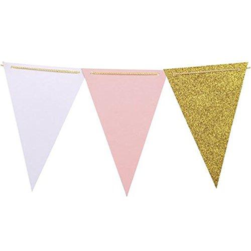 Da.Wa 10 Feet Triangle Flag Bunting Banner - Upgrade Version, Vintage Style Wimpel Banner für Hochzeit, Baby Dusche, Event & Party Supplies, 15pcs Flaggen (Pink + Weiß + Champagner Gold Glitter)