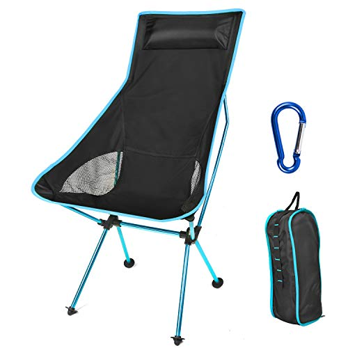 Lightweight Folding Camping Chair  Portable Camp Chair with Headrest and Carry Bag Camping Chairs for Outdoor Picnic BBQ Fishing Hiking