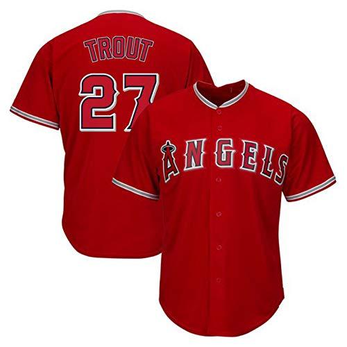 Forellen-Baseball-Shirt Los Angeles Dodgers # 27, Herren-Baseball-Trikot, Kurzarm-Team-Uniform-Button-Top (M-XXXL)-red-XXXL