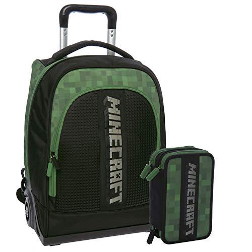 MINECRAFT Schoolpack Zaino Trolley Organizzato 3 Cerniere più Astuccio Scuola 3 Zip Completo Di Cancelleria Licenza Ufficiale