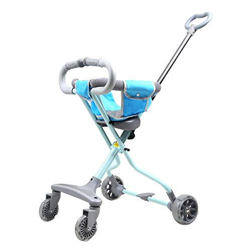Buy Children's Trolley Aluminum Tricycle Mute Shock Absorption Foldable Light and Easy to Bring Baby...