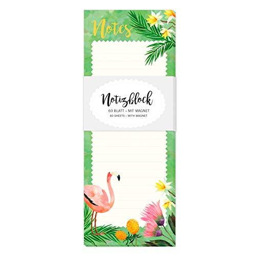 Notizblock, Notizzettel gebunden, 60 Blatt, liniert, magnetisch für Kühlschrank mit Motiv, Flamingo, Annanas, bunt, gelb, grün, rosa, Einkaufsliste, To-Do-Liste