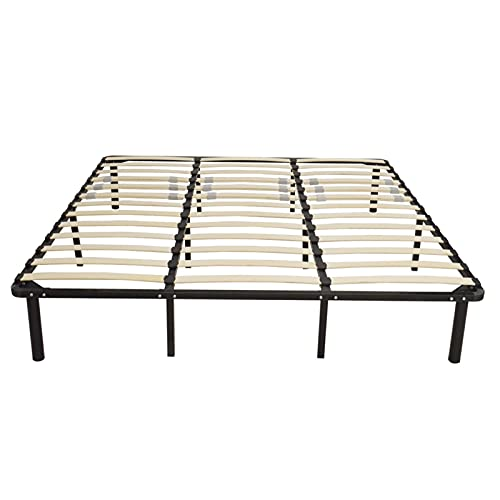 Bed Frame Wooden Bed Slat And Sturdy Metal Iron Stand King/Queen/Full Assembly Mattress Foundation (Color : Black, Size : Full 1)
