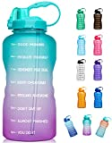 Giotto Large 1 Gallon/128oz (When Full) Motivational Water Bottle with Time Marker & Straw, Leakproof Tritan BPA Free for Fitness, Gym and Outdoor Sports-Green/Pink Gradient
