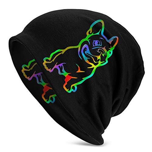 Slotley Beanie Hat Men Women Rasta French Bulldog Warm Skull Knit Hat Unisex Slouchy Soft Headwear Cuffed Cap Black