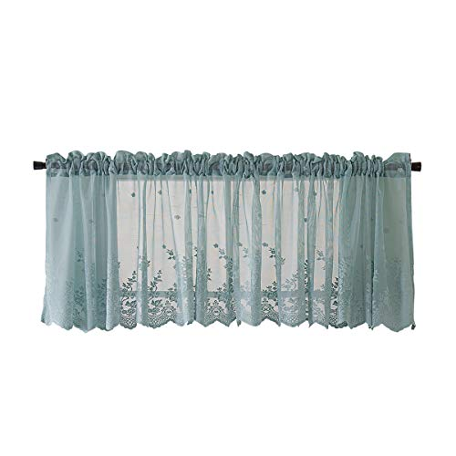 HomeyHo Rod Pocket Sheer Cafe Curtains Half Curtains for Living Room Sheer Lace Cafe Curtains for Bedroom Sheer Curtain Kitchen Window Valance Curtains for Girls Room 54 x 24 Inch Blue