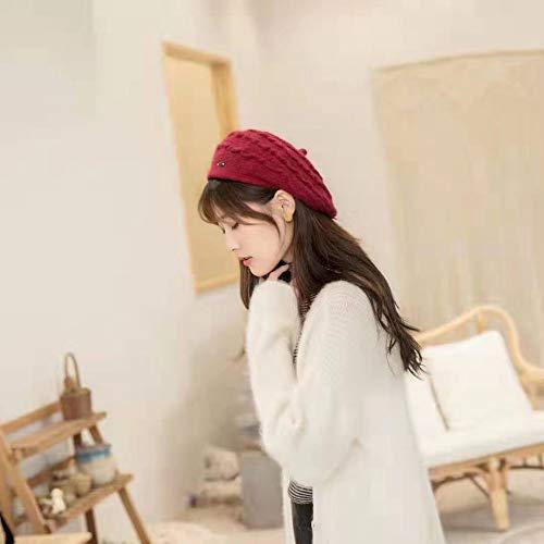 geiqianjiumai Pequeña Fragancia Boina de Viento Femenino cálido Arte Retro Lindo Pintor Sombrero Octogonal Sombrero Rojo Ajustable