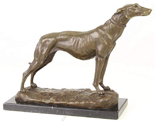 Casa Padrino Lujosa Figura de Bronce en Galgo con Base de mármol Bronce/Oro/Negro H. 24,5 cm - Figura de Decoración