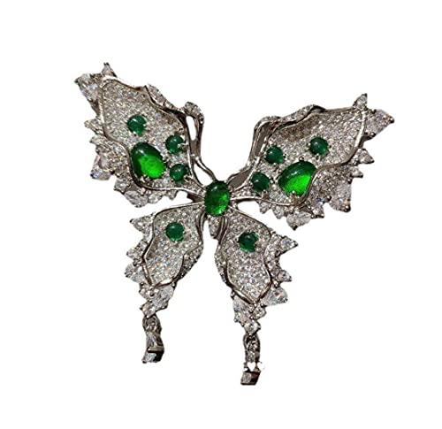 Yisss Broche de Mariposa de malaquita, Broche de Zircon de Zircon de Oro de 18 k, Joyas de Lujo de Gama Alta, un Regalo para Ella (Color : A)