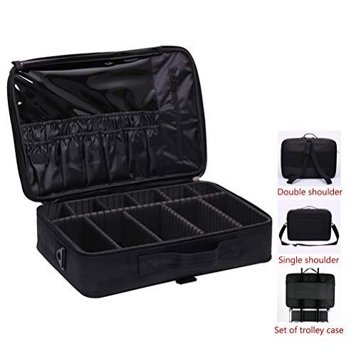 Voyage maquillage train Sac maquillage étui portable avec séparateurs réglables Oxford imperméable grande capacité avec une seule bandoulière,black,L