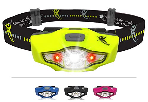 SmarterLife LED Headlamp Flashlight - 6 White and Red LED Head Lamp Modes - Only 1 Battery, IPX6 Waterproof - Super Bright Headlight For Running, Camping, Hiking, Cycling, Hunting - Adults and Kids