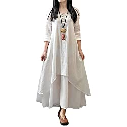 2 styles: long sleeve style and short sleeve style for your chooice. ❤❤❤Pls note: these dresses are loose fit, pls refer to the size chart in PIC before place the order. Thank you. This long boho loose dress features: V neck, front with button down d...