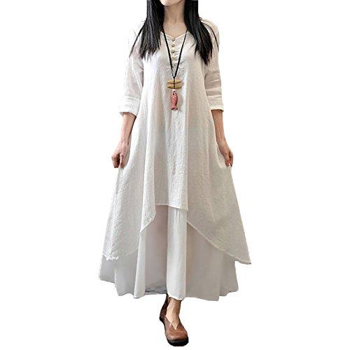 Romacci Damen Beiläufige Lose Kleid Fest Langarm Boho Lang Maxi Kleid S-5XL Schwarz/Weiß/Rot/Gelb, Weiß, L