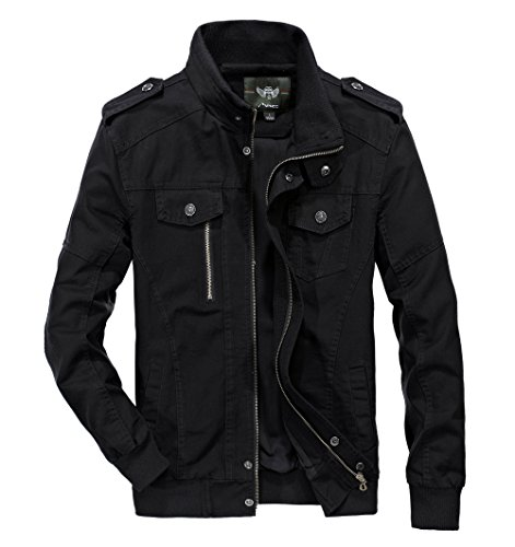 RongYue Men's Casual Cotton Military Jacket Spring Lightweight Outwear Coat, Black, Large