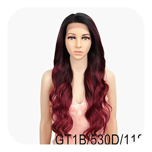 PJPPJH Perruques pour Femmes Cheveux Humains, synthétique Avant de Lacet Ombre Blonde pour Les Femmes Noires Perruque Haute température