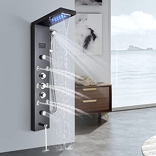 Suguword LED Wasserfall Regendusche Duschpaneel Turm Duschsäule Wanne Auslauf Handbrause Körper Massagedüsen Duschset Wasserhahn 5 Funktionen Temperaturanzeige Dusche