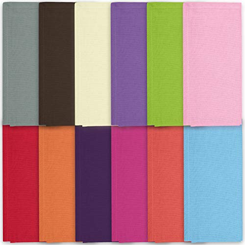 Cotton Dinner Napkins Cloth 20 x 20 100% Natural Bulk Linens for Dinner, Events, Weddings - Berry, Lime, Ming Red, Stone, Brown, Lavender, Grape, Orange, Sky Blue, Pink, Red & Cream, Set of 12