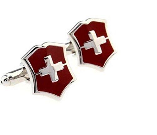 Gudeke Schweiz Flagge Manschettenknöpfe Französisch Bnagle Manschettenknöpfe für Männer Manschettenknöpfe Französisch Bnagle Manschettenknöpfe für Männer