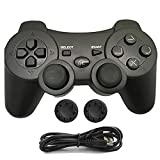 Mando PS3 inalámbrico, PS3 Controller Gamepad Doble Vibración 6-Axis Mando a Distancia Joystick para Playstation 3 con Cable de Carga (Negro)