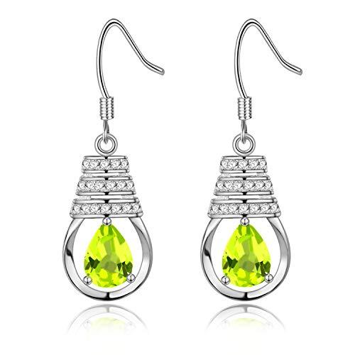 Uloveido 1.9g 925 Sterling Silber Birne Cut 0.8ct Natürliche Peridot Wassertropfen Glühbirne Form Haken Ohrringe FR039 (grün)