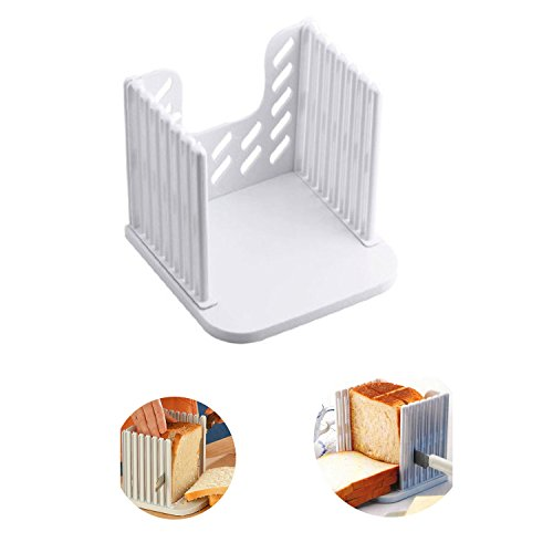 Amyhome Bread Slicer Toast Slicer Bread Toast Slicer Bagel Loaf Slicer Sandwich Maker Toast Slicing Machine Folding and Adjustable Thicknesses Bread Cutter(White)