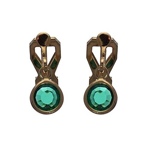 LORIS Clip di cristallo smeraldo orecchini placcato in oro di 7