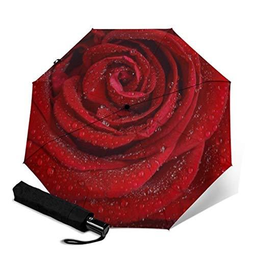 NA Parapluie Entièrement Automatique Floral Fleur d'impression Portable Pliant Parapluie Rainy Parapluie Femmes Hommes Coupe-Vent Parapluie (Couleur : YSC1014)