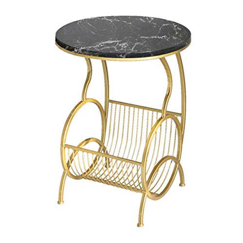 FSJD Round Side Coffee Table Corner with Gold Storage Shelf/Faux Marble Top and Gold Metal Table Legs/End Tables Suitable for Living Room/Bedroom/Snack/Laptop(Color:Black)