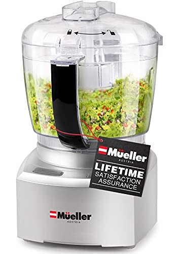 Mueller Ultra Prep Food Processor Chopper for Dicing, Grinding, Whipping and Pureeing – Food Chopper for Vegetables, Meat, Grains, Nuts and Whisk for Eggs and Cream
