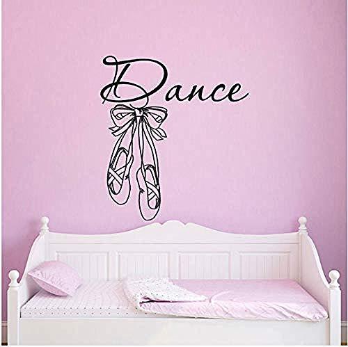 Tanz Wandtattoo Aufkleber Ballettschuhe Hausschuhe Ballerina Künstler Home Decoration Mädchen Schlafzimmer Kindergarten Kinderzimmer Abnehmbares Wandbild 42X46Cm