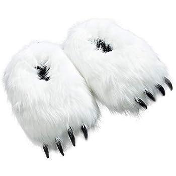 Popuid Furry Polar Bear Slippers Women Teens House White Bear Paw Foot Non-Slip Slipper for Christmas 5.5-8.0