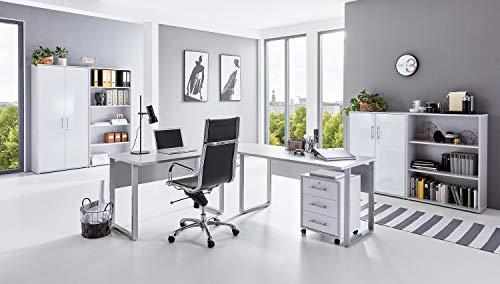 moebel-dich-auf.de Büromöbel Set TABOR PRO 1 in diversen Farbvarianten (lichtgrau/weiß Hochglanz)