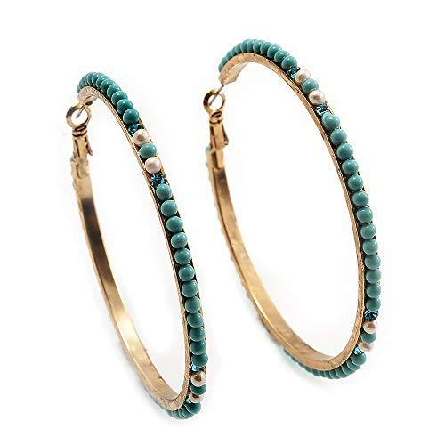 Orecchini a cerchio placcati oro con perline in vetro turchese, diametro 6,5 cm
