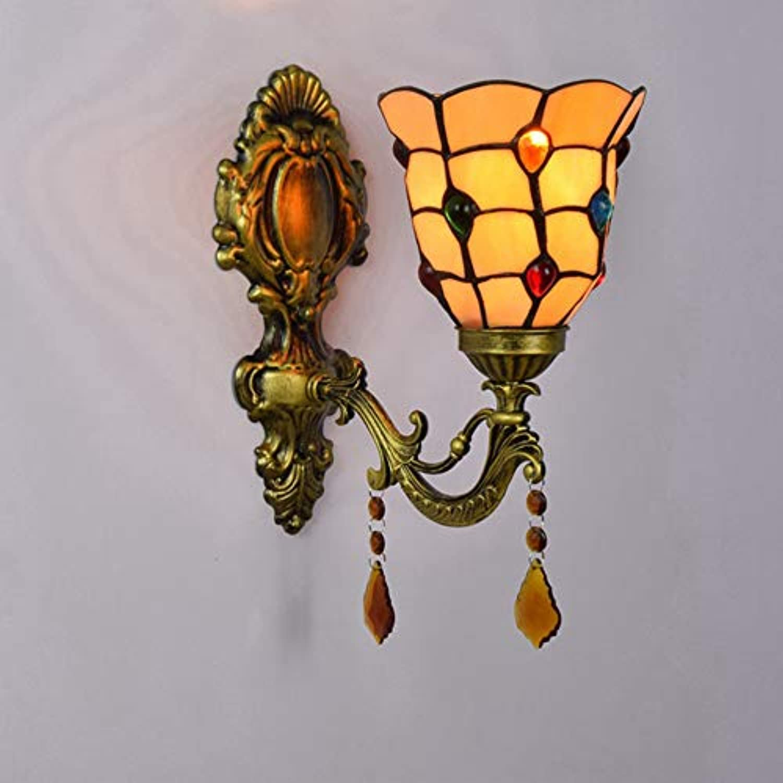 SXFYWYM Wandleuchte Licht Glas Retro Kreative Kunst für Schlafzimmer Wohnzimmer Arbeitszimmer Nachttisch Beleuchtung,Farbe,28x15cm