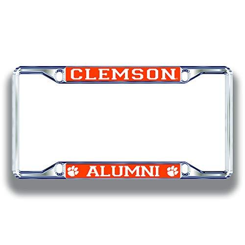 Elite Fan Shop Clemson Tigers License Plate Frame Alumni - Silver